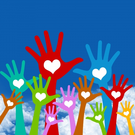 Graphic For Volunteer and Voting Concept, The Colorful Raised Hands With Heart in Blue Sky Background