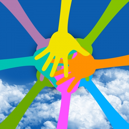 Graphic For Togetherness Concept Present With Colorful Hand Together in Blue Sky Background