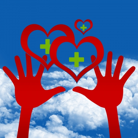 Graphic For Heart Donation Concept, Two Hands Holding Red Heart With Green Cross Inside in Blue Sky Background  photo