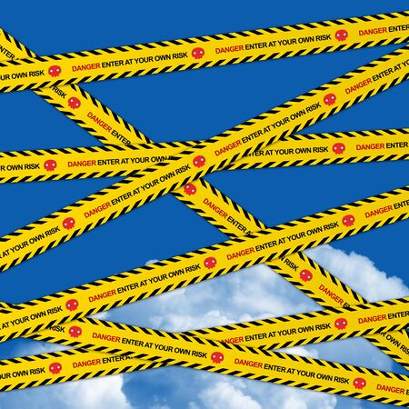 Danger Enter At Your Own Risk Caution Tape in Blue Sky Background Stock Photo - 17608507