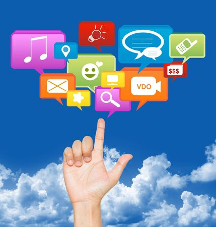 Hand With Social Community Icon Above in Blue Sky Background For Social Network Concept  Stock Photo - 17607234
