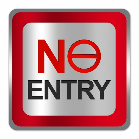 one lane street sign: Square Silver Metallic With Red Border Plate For No Entry Sign Isolated on White Background