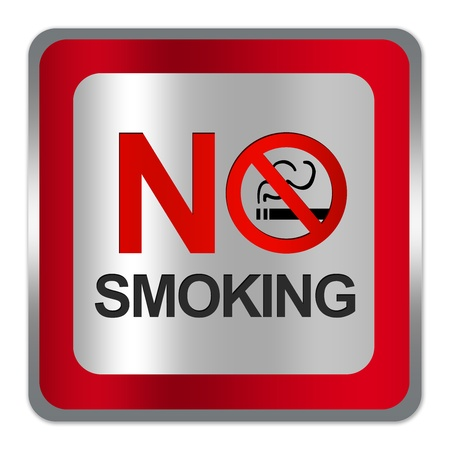 Square Silver Metallic With Red Border Plate For No Smoking Sign Isolated on White Background photo