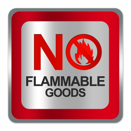 Square Silver Metallic With Red Border Plate For No Flammable Goods Sign Isolated on White Background  photo