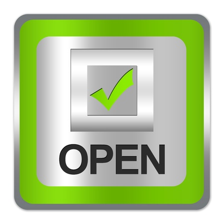 Square Silver Metallic With Green Border Plate For Shop Open Sign Isolate on White Background Stock Photo - 17608646