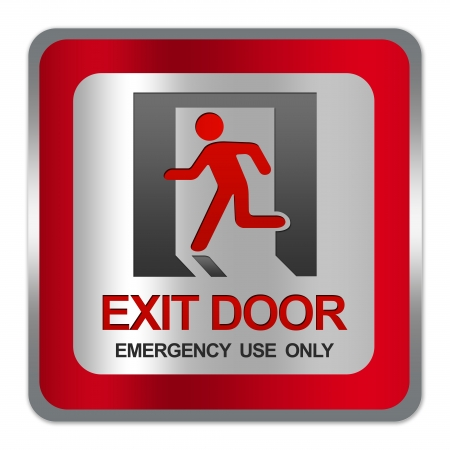 Square Silver Metallic With Red Border Plate For Exit Door Emergency Use Only Sign Isolate on White Background  photo