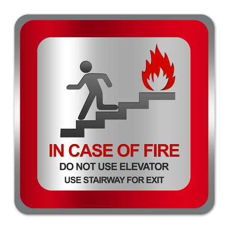 no fires: Square Silver Metallic With Red Border Plate For In Case Of Fire Do Not Use Elevator In Case Of Fire Use Stairway For Exit Sign Isolate on White Background