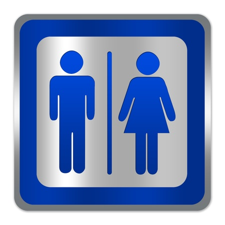 Square Silver Metallic With Blue Border Plate For Unisex Restroom Or Toilet Sign Isolate on White Background  Stock Photo - 17608613