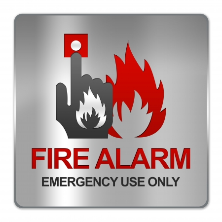 emergency case: Square Silver Metallic Plate For Fire Alarm Emergency Use Only Sign Isolate on White Background  Stock Photo