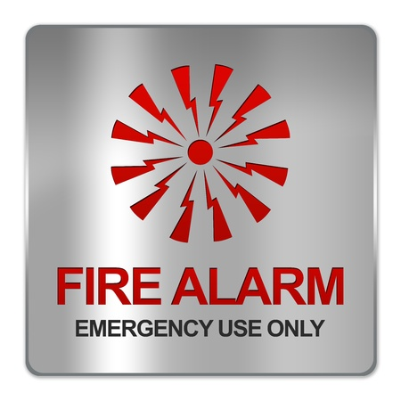 warning notice: Square Silver Metallic Plate For Fire Alarm Emergency Use Only Sign With Red Alarm Sign Isolate on White Background  Stock Photo