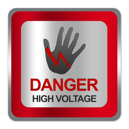 electroshock: Square Silver Metallic With Red Border Plate For Danger High Voltage Sign Isolate on White Background