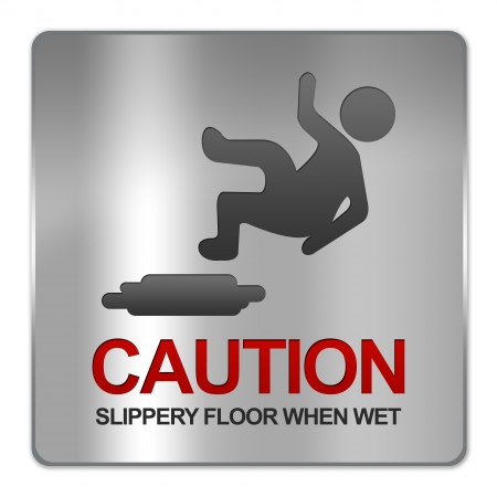 Square Silver Metallic Plate For Caution Slippery Floor When Wet Sign Isolate on White Background  Stock Photo - 17608735