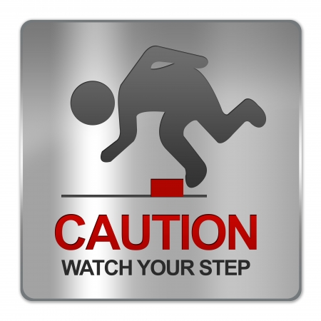 salience: Square Silver Metallic Plate For Caution Watch Your Step Sign Isolate on White Background