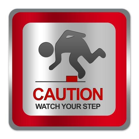 risks ahead: Plaza Silver Metallic con placa Frontera Rojo Para Precauci�n Watch Your Step Entrar Aislar sobre fondo blanco Foto de archivo