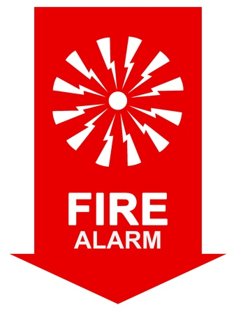 Fire Alarm Sign On Red Arrow With Fire Alarm Text Isolate on White Background  Stock Photo - 17608609
