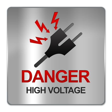electroshock: Square Silver Metallic Plate For Danger High Voltage Sign With Plug and Voltage Sign Isolate on White Background