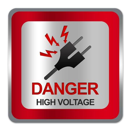 electroshock: Square Silver Metallic With Red Border Plate For Danger High Voltage Sign With Plug and Voltage Sign Isolate on White Background  Stock Photo