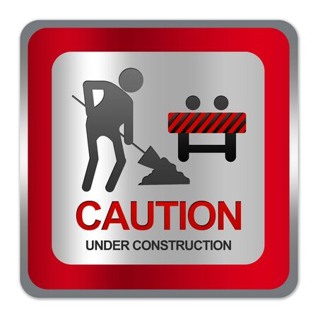 Square Silver Metallic With Red Border Plate For Under Construction Sign Isolate on White Background Stock Photo - 17608689