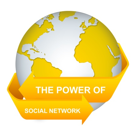 The Power of Social Network Concept With Yellow Globe and Label Isolate on White Background  Stock Photo - 17608761