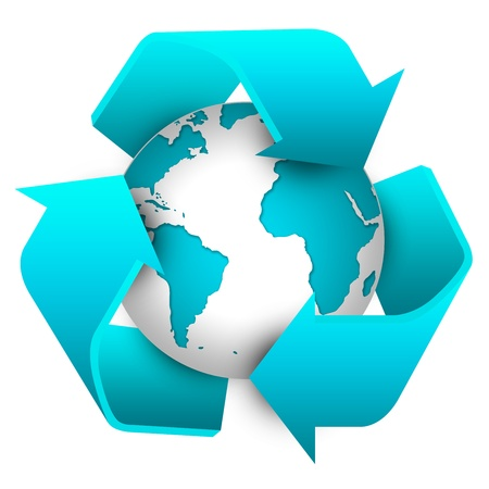Blue Recycle Sign Around The Earth For Save The Earth and Stop Global Warming Concept Isolate on White Background  photo