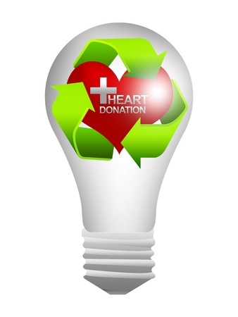 Recycle Sign Around The Red Heart With Silver Cross and Heart Donation Text Inside The Light Bulb For Heart Donation Center Concept Isolate on White Background  photo