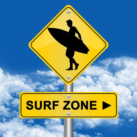 Yellow Surf Zone Road Sign In Blue Sky Background  photo
