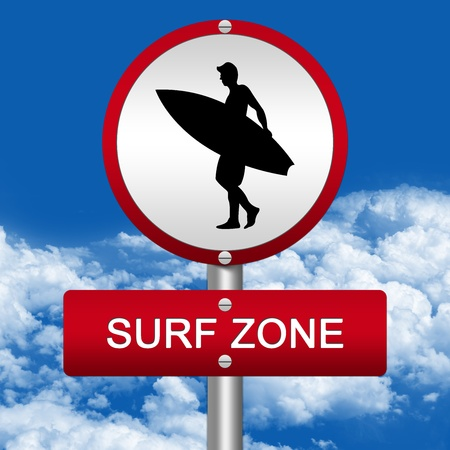 Silver Metallic Surf Area Road Sign With Red Metallic Border and Surf Zone Text In Blue Sky Background  photo