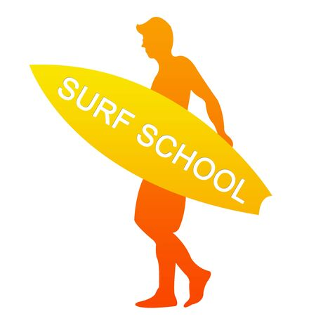 Orange Surf School Sign Isolated on White Background  photo