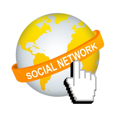 Social Network Concept, Orange Social Network Band Around The World With Hand Cursor Isolated on White Background Stock Photo - 17608650