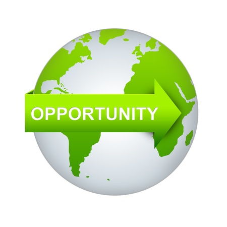 Opportunity Concept, Green Opportunity Arrow On The World Isolated on White Background  Stock Photo - 17608851