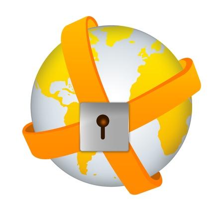 erde gelb: Save The Earth and Security Concept - Yellow Earth Von Yellow Band Umgeben mit dem Schloss auf wei�em Hintergrund