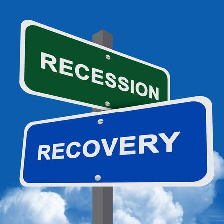 Concept of Decision Present By Two Way Street Sign Pointing to Recession and Recovery  in Blue Sky Background  photo