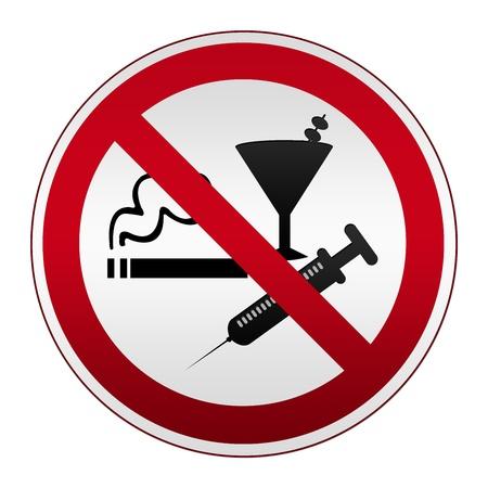 Cirkel Zilver Metallic met rode rand plaat voor niet roken, alcohol en drugs op een witte achtergrond