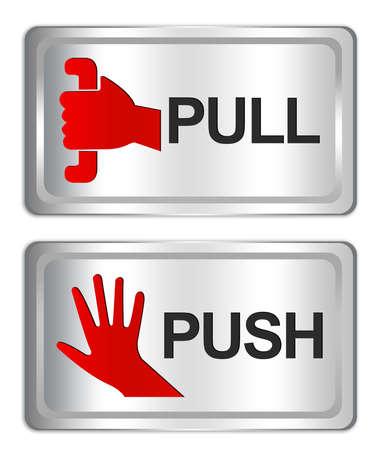 fermer la porte: Tirez et poussez Sign On place Silver Metallic Plate isoler sur fond blanc Banque d'images
