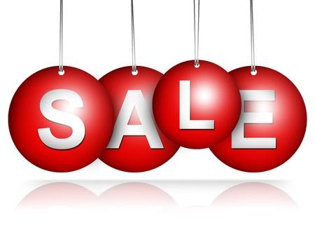 Red Hanged Sale Tag voor Speciale Promotie Campagne isoleren op witte achtergrond Stockfoto - 17608934
