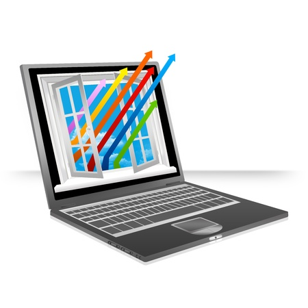 Black Computer Notebook With The Colorful Business Growth Arrow Through The Open Window Isolate on White Background Stock Photo - 17608920