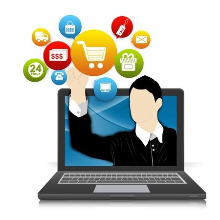 Online-und Internet-Shopping-Konzept Present von Computer Notebook mit Geschäftsmann zeigte auf Colorful E-Commerce Icon isoliert auf weißem Hintergrund Standard-Bild