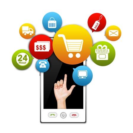 흰색 배경에 손 다채로운 전자 상거래 아이콘 위에 격리와 흰 스마트 전화 이동 전화 인터넷과 온라인 쇼핑 개념 선물 스톡 콘텐츠