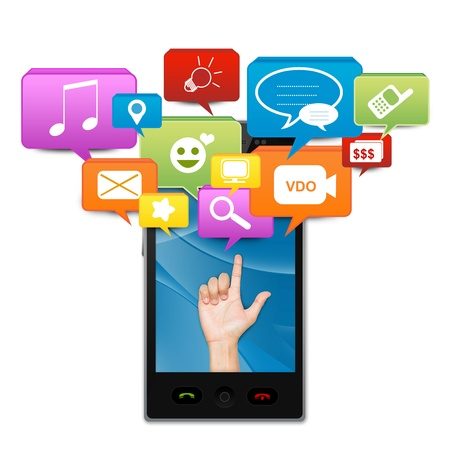 Social Media On Mobile Concept Present By Hand With Social Media Icon Above On Smart Mobile Phone Screen Isolate on White Background Stock Photo - 17608942