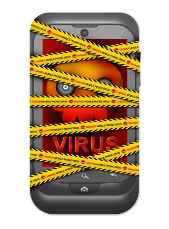 Black Smart Phone With Skull and Virus Alert on Screen Cover By Danger Mobile Phone Virus Caution Tape For Mobile Phone Virus Concept Isolated on White Background