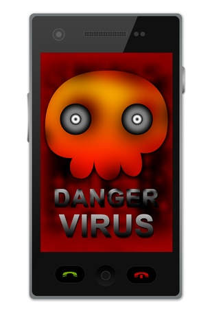 Black Smart Phone With Skull and Virus Alert Text on Screen For Mobile Phone Virus Concept Isolated on White Background