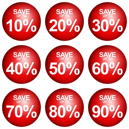 Red Circle Save Up To 10 - 90 Percent OFF Discount Sticker Tag Isolated on White Background