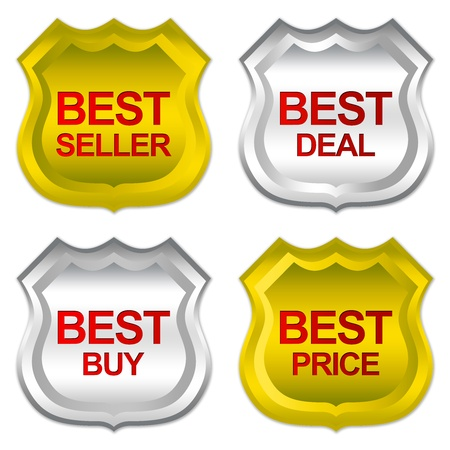 Golden and Silver Metallic Badge Sticker For Marketing Campaign With Best Seller, Best Deal, Best Buy and Best Price Isolated on White Background  photo