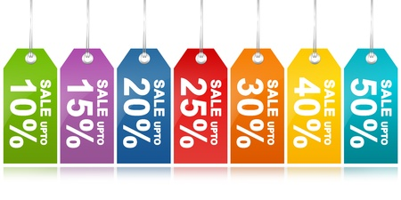 closeout: Colorful Sale Discount Price Tag From 10 - 50 Percent Discount Isolated on White Background