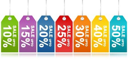 Kleurrijke Sale Korting Prijskaartje van 10 - 50 procent korting geïsoleerd op witte achtergrond Stockfoto