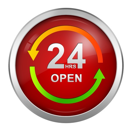 countenance: Circle 24HRS Open Sign With Red Glossy Style and Silver Metallic Border Icon Isolated on White Background