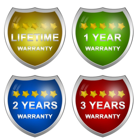 1 2 years: Colorful Glossy Style Customer Service Warranty Life Time, 1 Year, 2 Years and 3 Years Badge Isolated on White Background  Stock Photo