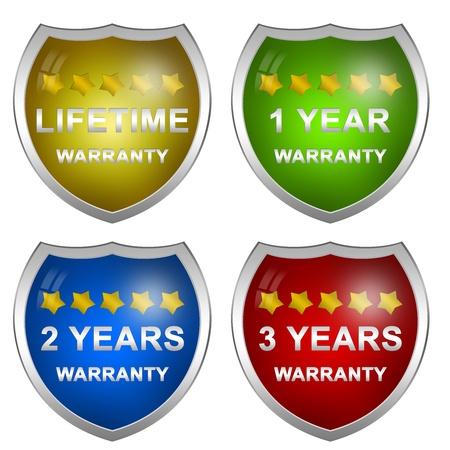 2 to 3 years: Colorful lucida Stile clienti Servizio Garanzia Life Time, 1 anno, 2 anni e 3 anni Badge isolati su sfondo bianco Archivio Fotografico