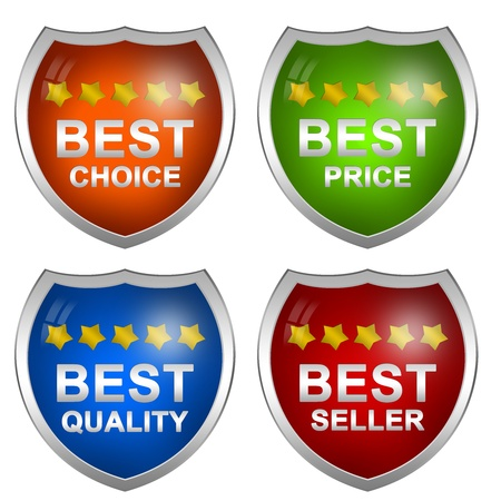 Colorful Badge Sticker For Marketing Campaign With Best Choice, Best Price, Best Quality and Best Seller Isolated on White Background Stock Photo - 17609176