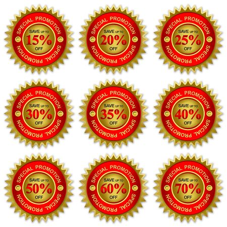 Save Up To 15 - 80 Percent Off On Red and Golden Metallic Price Tag Sticker For Special Promotion Campaign Isolated on White Background  Reklamní fotografie